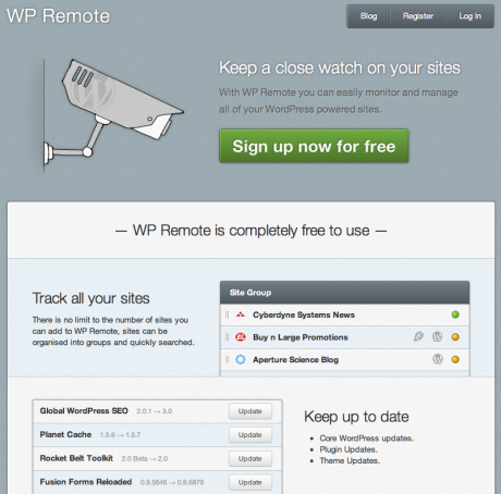 Screenshot of the wpremote.com website